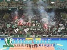 Panathinaikos fans at the match Athens - Cuneo