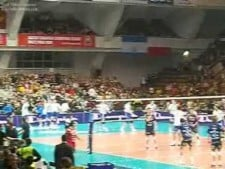 Volleyball hits during warm-up