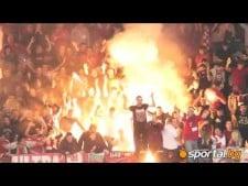 Flares at volleyball match (CSKA - Resovia)