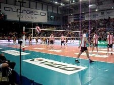 Volleyball hits during warm-up (2nd movie)