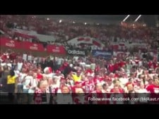 Polish fans dance in Spodek