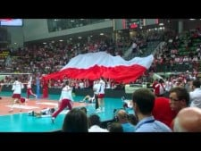 Giant Polish flag during the match