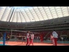 Polish and Brazilian training at football stadium