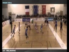 Attack from 8m by Ivan Miljkovic (Fenerbahce - Nantes)