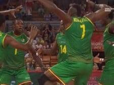 Cameroon's block celebration
