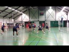 Player from CA Obernai Volley 4th meter spike