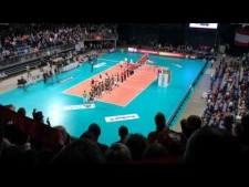 National Anthems before match Antwerpen - Bełchatów