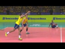 Murillo Endres volleyball dig (Brazil - Serbia)