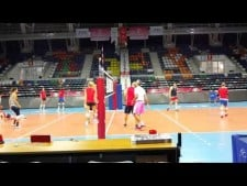 Karch Kiraly spikes during USA training