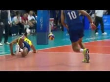 Kevin Le Roux aces in match Brazil - France