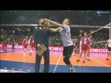Lukas Kampa and Nikola Grbic collision (Germany - Serbia)