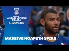 Earvin N'Gapeth spike (France - Brazil)